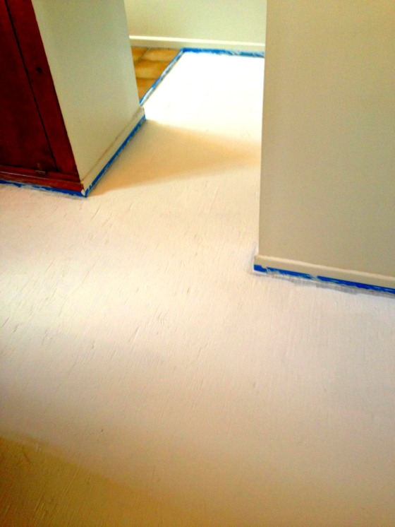 Primed - covering water stains and sealing the floor